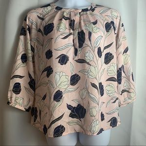 Banana Republic - pink long sleeve floral blouse